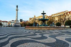 La place du Rossio à Lisbonne