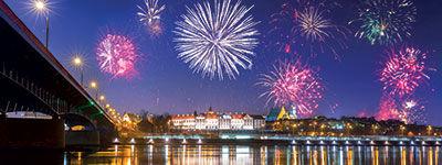 Feux d'artifice à Varsovie