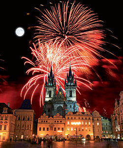 Feu d'artifice à Prague