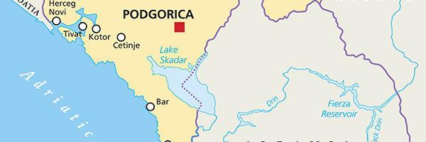 Carte du lac de Skadar, au Monténégro