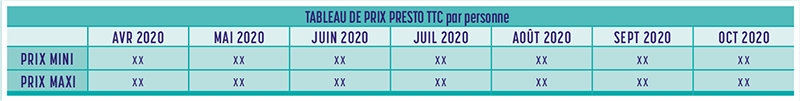 Tableau de prix - Brochure Europe édition 2020-2021