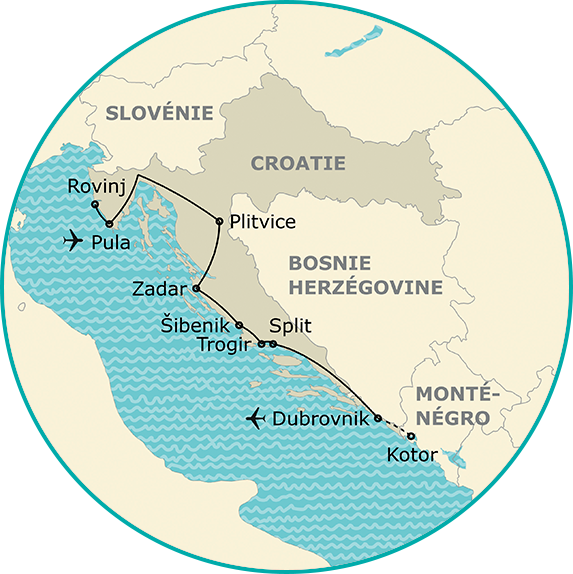 Carte circuit grand tour de croatie