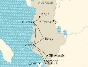 L'itinéraire du circuit en Albanie