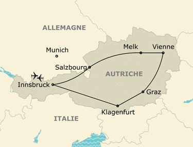 L'itinéraire de votre circuit grand tour d'Autriche