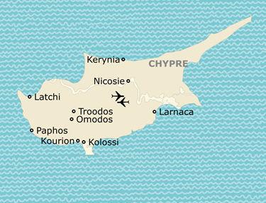 L'itinéraire du circuit visages de Chypre
