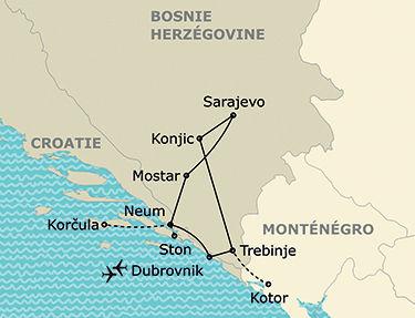 L'itinéraire du circuit Sur la route des Balkans entre Bosnie et Croatie