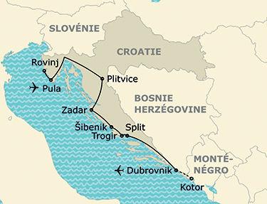 L'itinéraire du circuit Evasion en Croatie