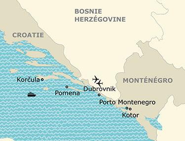 L'itinéraire de votre croisière en Croatie et au Monténégro