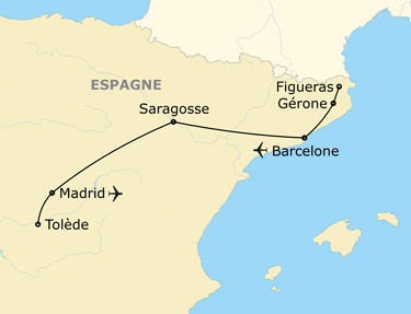 Carte de l'itinéraire de votre circuit en Espagne