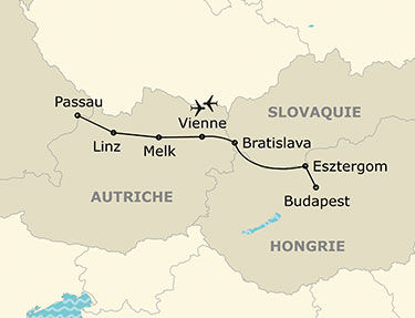 L'itinéraire de votre croisière sur le Danube