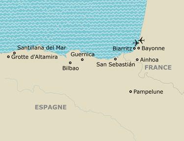 L'itinéraire de votre circuit au pays basque