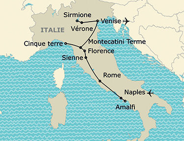 L'itinéraire du circuit Grand tour d'Italie