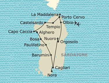 L'itinéraire du circuit Grand tour de Sardaigne