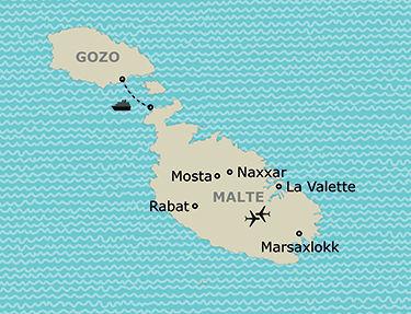 Carte de votre itinéraire à Malte