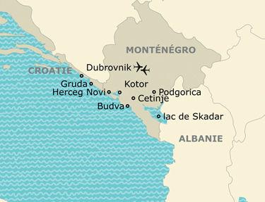 Itinéraire de votre circuit au Monténégro