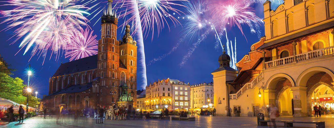 Feux d'artifice à Cracovie