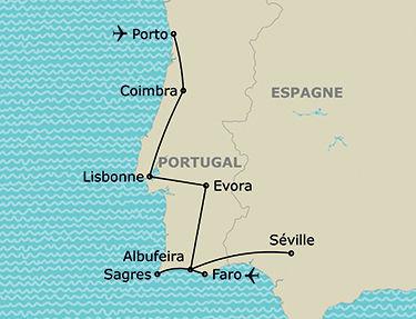 L'itinéraire du circuit Portugal du Nord au Sud et escapade à Séville