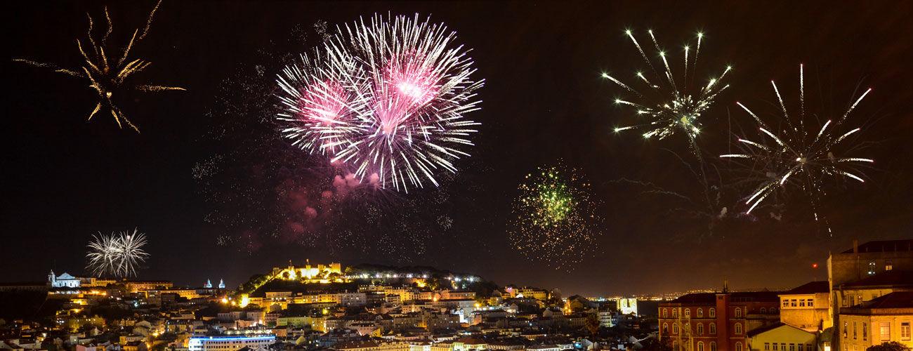 Feux d'artifices à Lisbonne